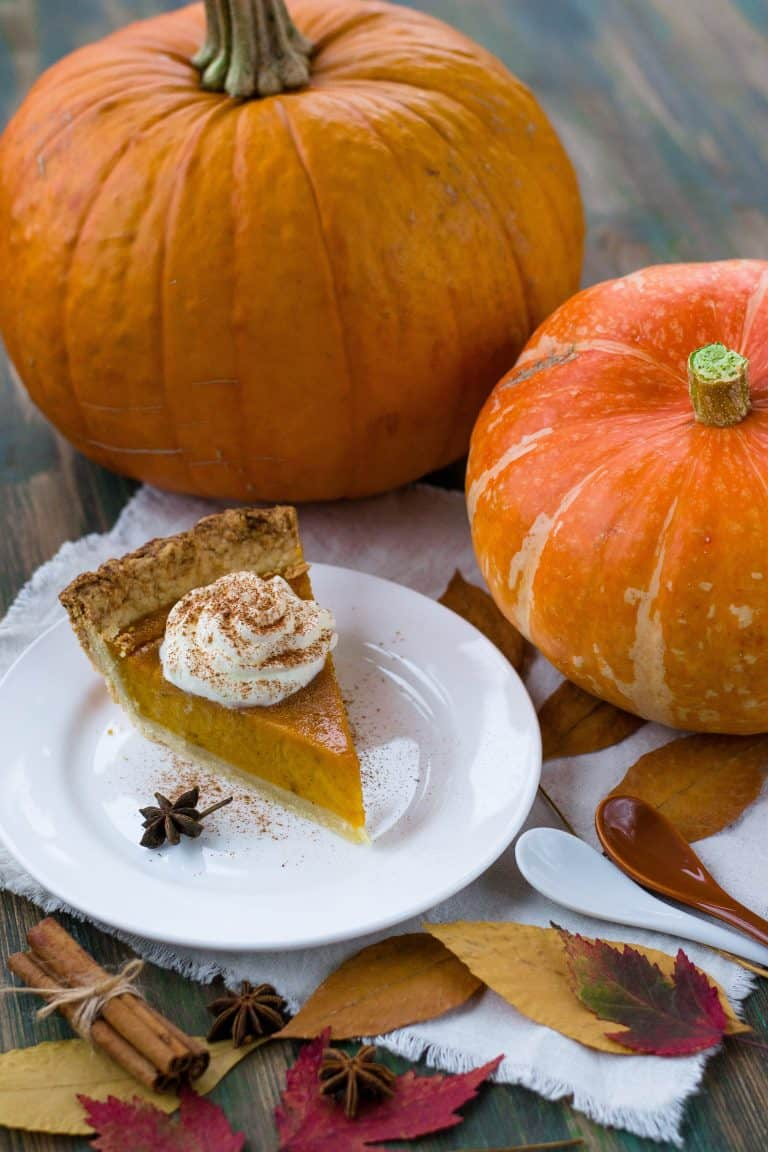 Pumpkin pie with whipped cream and cinnamon